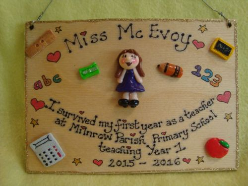 Single character 7 x 5  Larger Teacher's Gift Personalised 3d  Sign Plaque Handmade One of A Kind Any Phrasing Retirement